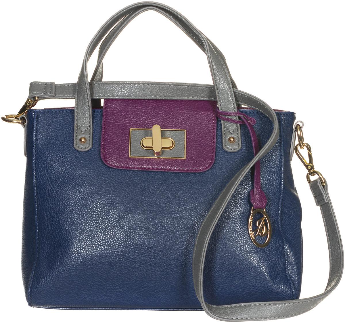 Сумка женская Jane Shilton, цвет: темно-синий, пурпурный. 21382138m_navyСтильная сумка Jane Shilton не оставит вас равнодушной благодаря своему дизайну и практичности. Она изготовлена из качественной искусственной кожи зернистой текстуры. На тыльной стороне расположен удобный вшитый карман на молнии. Сумка оснащена удобными ручками, которые оформлены металлической фирменной подвеской. Также сумка дополнена съемным плечевым ремнем, который фиксируется с помощью замков-карабинов. Изделие закрывается на удобную молнию. Внутри расположено одно главное отделение на молнии, которое разделяет карман-средник на молнии. Также внутри расположен один открытый накладной карман для телефона и один вшитый карман на молнии для мелочей. Такая модная и практичная сумка завершит ваш образ и станет незаменимым аксессуаром в вашем гардеробе.