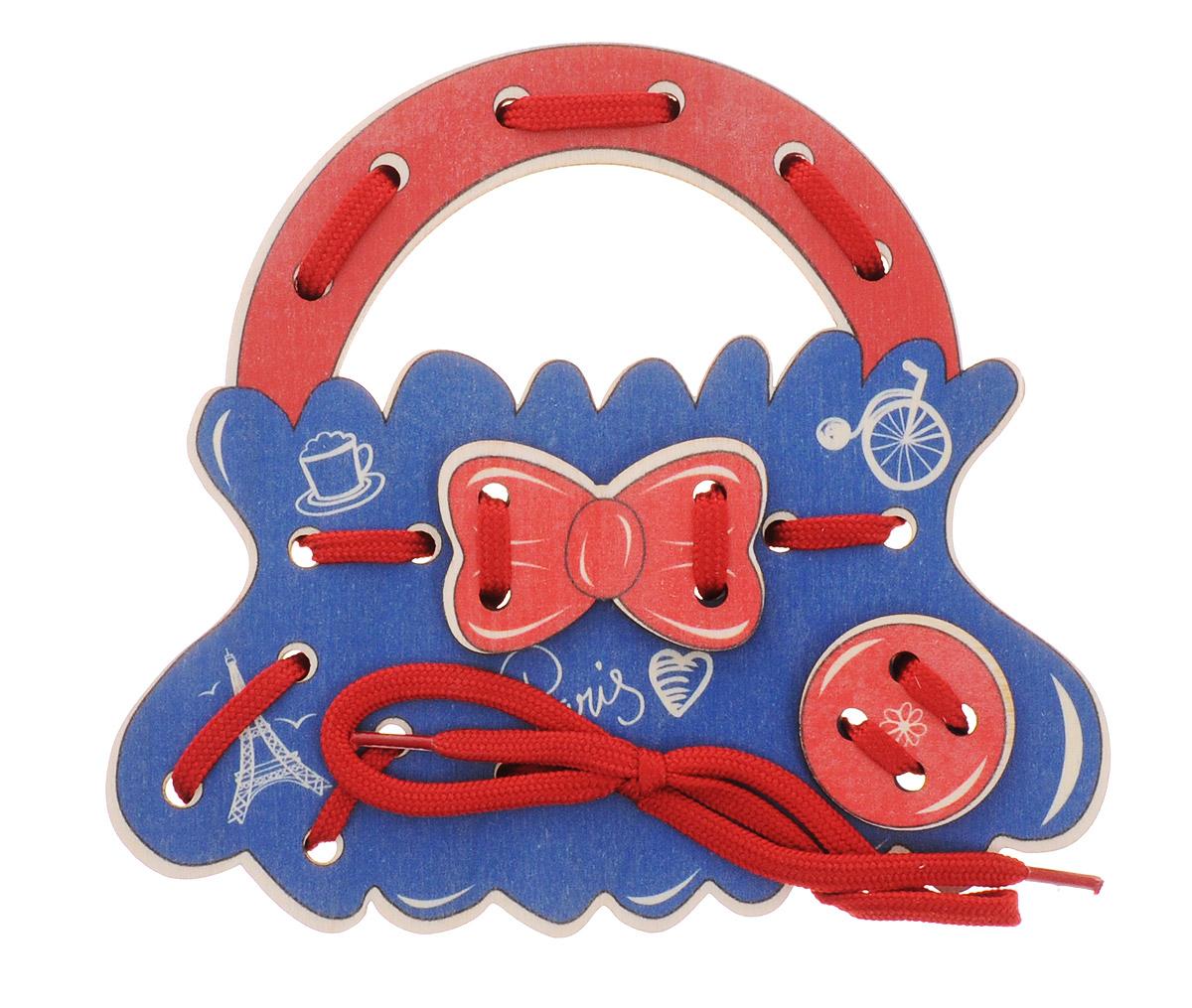 Развивающие деревянные игрушки Шнуровка Сумочка Французская фантазияД474аШнуровка Французская фантазия выполнена в виде сумочки для маленьких модниц. Играя с этой сумочкой, ребенок научится шнуровать и завязывать шнурочки на бантик. Игрушка поможет ребенку развить воображение, научиться компоновать и привязывать различные элементы друг к другу, создавая свой модный детский аксессуар. Шнуровка - незаменимая игрушка для развития мелкой моторики, логики и воображения. А шнуровка в виде веселой игры станет для ребенка самым любимым развлечением.