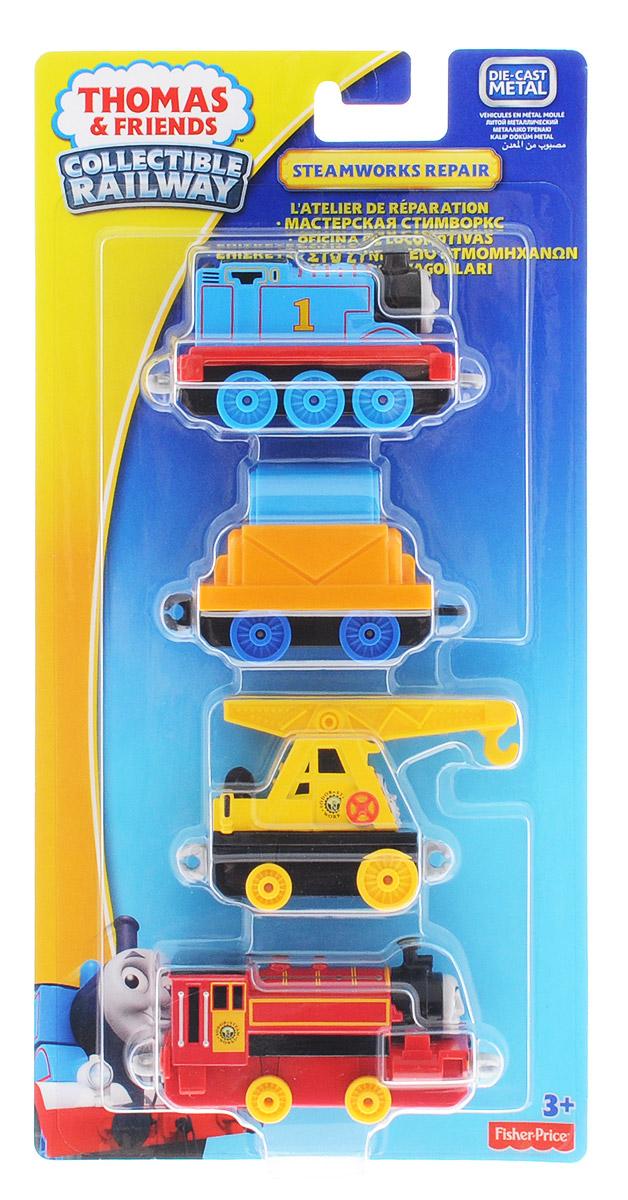 Thomas & Friends Набор паровозиков Мастерская Стимворкс 4 штDGB79_DGB82В набор паровозиков Thomas & Friends Мастерская Стимворкс входят металлические паровозики Томас и Виктор, а также товарный вагон и вагон-кран Кевин. Сцепка паровозов не магнитная и, хотя колея рельсов примерно совпадает с портативной серией, соединяются между собой рельсы теперь иначе. Рельсы в комплект не входят.