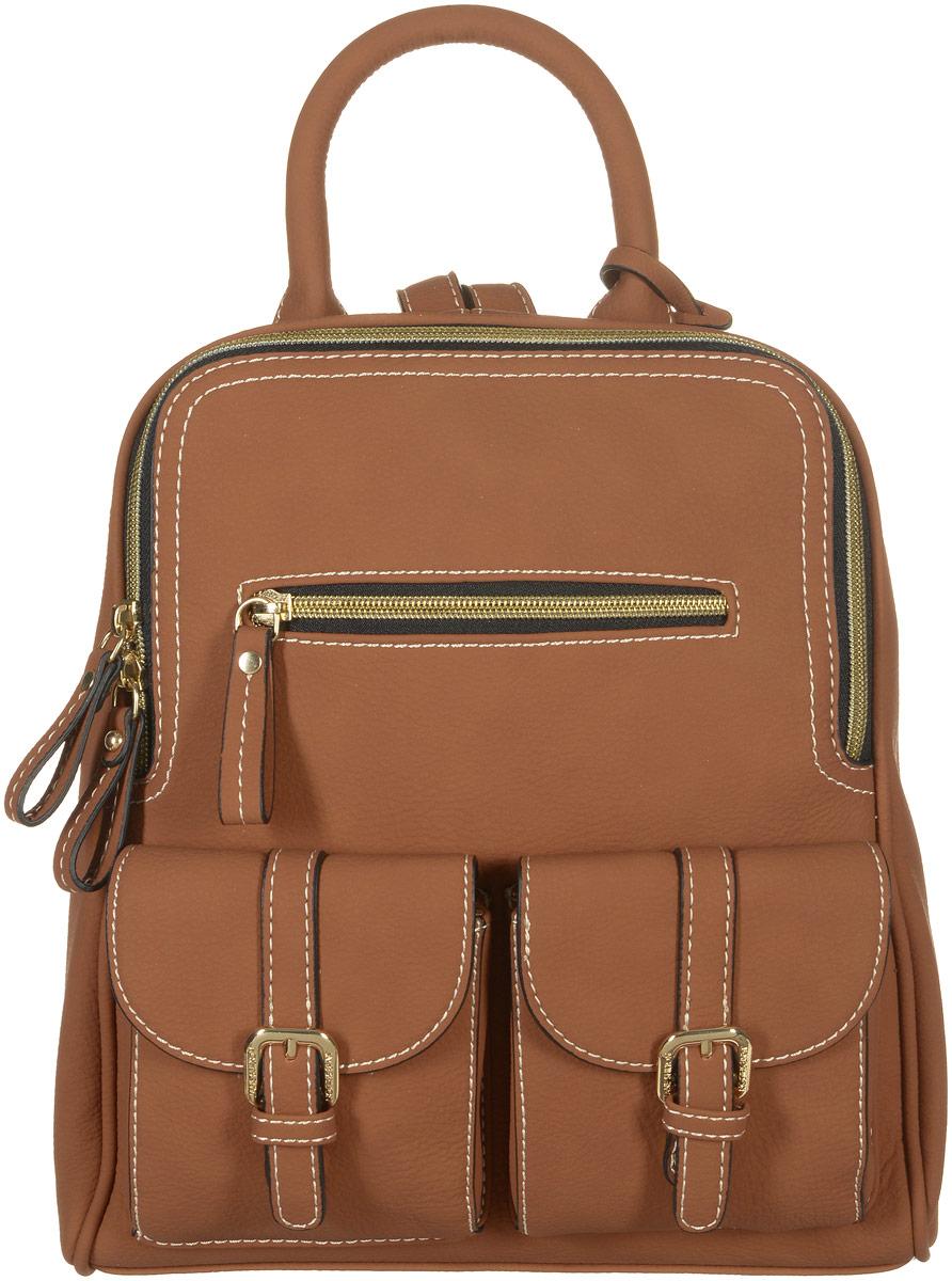 Рюкзак женский Jane Shilton, цвет: коричневый. 21732173tanСтильный женский рюкзак Jane Shilton не оставит вас равнодушной благодаря своему дизайну и практичности. Он изготовлен искусственной кожи и оформлен контрастной прострочкой. На лицевой стороне расположены один вшитый карман на молнии и два небольших накладных объемных кармана с клапанами и пряжками. На тыльной стороне расположен удобный вшитый карман на молнии. Рюкзак оснащен удобной ручкой, которая оформлена фирменной металлической подвеской. Также рюкзак имеет удобные лямки, длина которых регулируется с помощью пряжек. Изделие закрывается на удобную молнию. Внутри расположено главное отделение, которое содержит один открытый накладной карман для телефона и один вшитый карман на молнии для мелочей. Такой модный и практичный рюкзак завершит ваш образ и станет незаменимым аксессуаром в вашем гардеробе.
