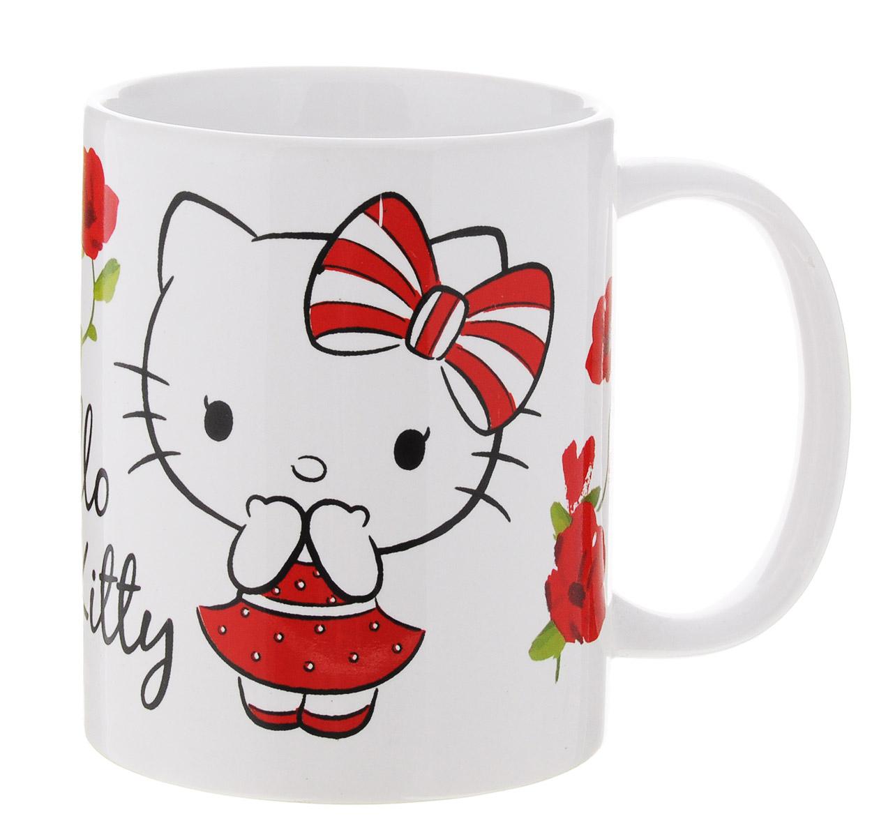 Hello Kitty Кружка детская 330 мл46205Детская кружка Disney Hello Kitty с любимым героем станет отличным подарком для вашего ребенка. Она выполнена из керамики и оформлена изображением симпатичной кошечки Китти. Кружка дополнена удобной ручкой. Такой подарок станет не только приятным, но и практичным сувениром: кружка будет незаменимым атрибутом чаепития, а оригинальное оформление кружки добавит ярких эмоций и хорошего настроения. Можно использовать в СВЧ-печи и посудомоечной машине.