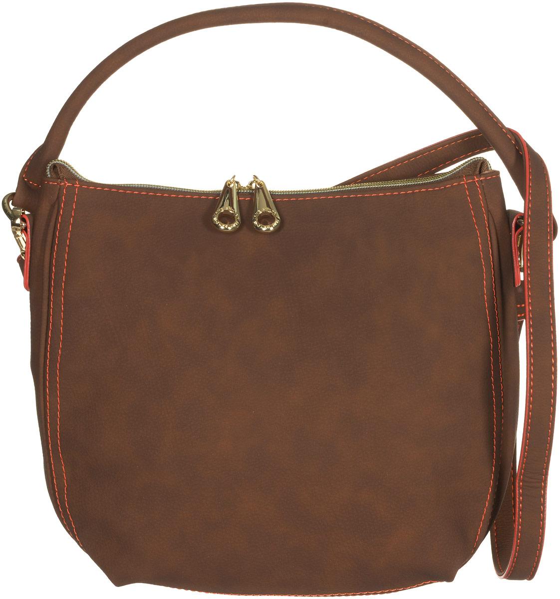 Сумка женская Jane Shilton, цвет: коричневый. 21442144lt_brСтильная сумка Jane Shilton не оставит вас равнодушной благодаря своему дизайну и практичности. Она изготовлена из качественной искусственной кожи и оформлена контрастной прострочкой. На тыльной стороне расположен удобный вшитый карман на молнии. Сумка оснащена удобной ручкой и съемным плечевым ремнем, который фиксируется с помощью замков-карабинов. Изделие закрывается на удобную молнию. Внутри расположено главное отделение, которое содержит один открытый накладной карман для телефона и один вшитый карман на молнии для мелочей. Такая модная и практичная сумка завершит ваш образ и станет незаменимым аксессуаром в вашем гардеробе.