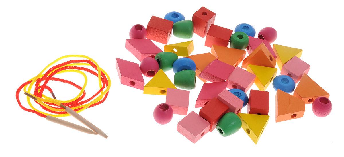 Развивающие деревянные игрушки Шнуровка Геометрические формы 40 элементовРДИ-Д039-3аШнуровка Развивающие деревянные игрушки Геометрические формы - это незаменимая игрушка для развития мелкой моторики. Набор состоит из 40 ярких деревянных деталей с геометрическими формами и двух шнурков. В середине элементов проделаны удобные дырочки для продевания шнурков. Расположение деталей на шнурке ребенок выбирает самостоятельно: по цвету, по форме. Удобная прозрачная баночка-упаковка позволит ребенку сложить детали после игры. Крышка баночки дополнена ручкой для переноски. Набор станет для ребенка не только любимой игрушкой, но и поможет ему изучить цвета, формы, развить воображение.