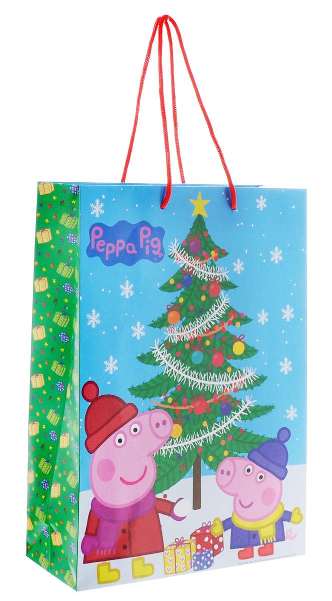 Peppa Pig Пакет подарочный Пеппа зимой 35 х 25 х 9 см28844Подарочный пакет Peppa Pig Пеппа зимой выполнен из плотной бумаги и оформлен ярким красочным изображением в виде свинки Пеппы и Джорджа. Дно изделия укреплено плотным картоном, который позволяет сохранить форму пакета и исключает возможность деформации дна под тяжестью подарка. Для удобной переноски у пакета имеются две текстильные ручки. Подарок, преподнесенный в оригинальной упаковке, всегда будет самым эффектным и запоминающимся. Окружите близких людей вниманием и заботой, вручив презент в нарядном, праздничном оформлении.