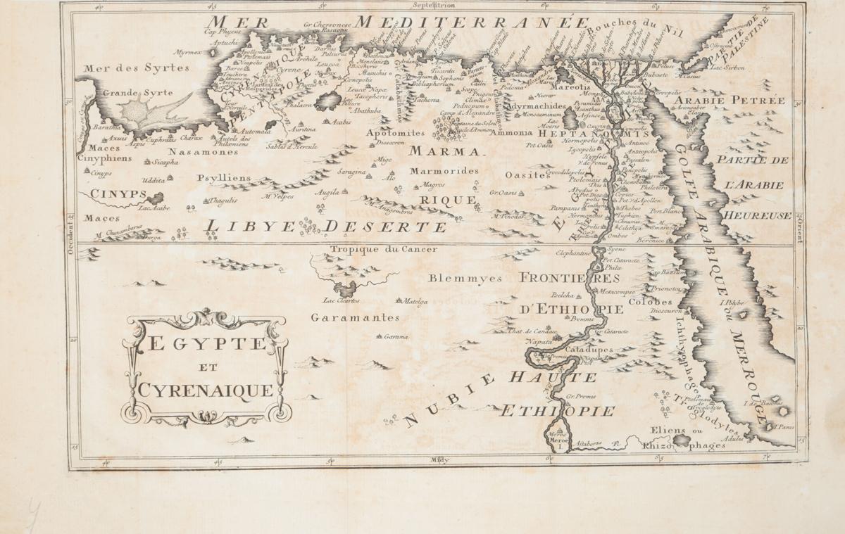 Географическая карта Египта и Киренаики (Egypte et Cyrenaique). Гравюра. Западная Европа, XVII век