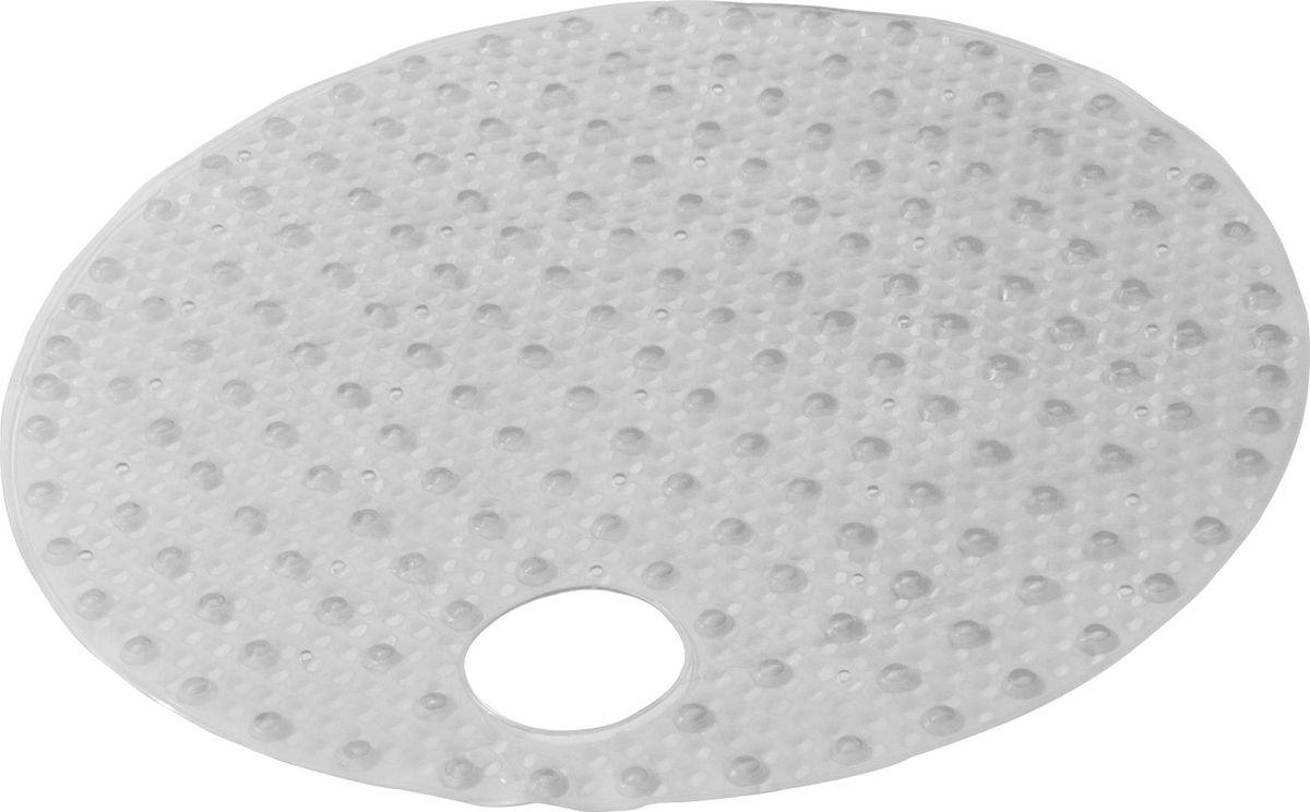 Коврик для ванной Ridder Lense, противоскользящий, на присосках, цвет: прозрачный, диаметр 54 см коврик для ванной ridder park противоскользящий на присосках цвет бежевый 54 х 54 см