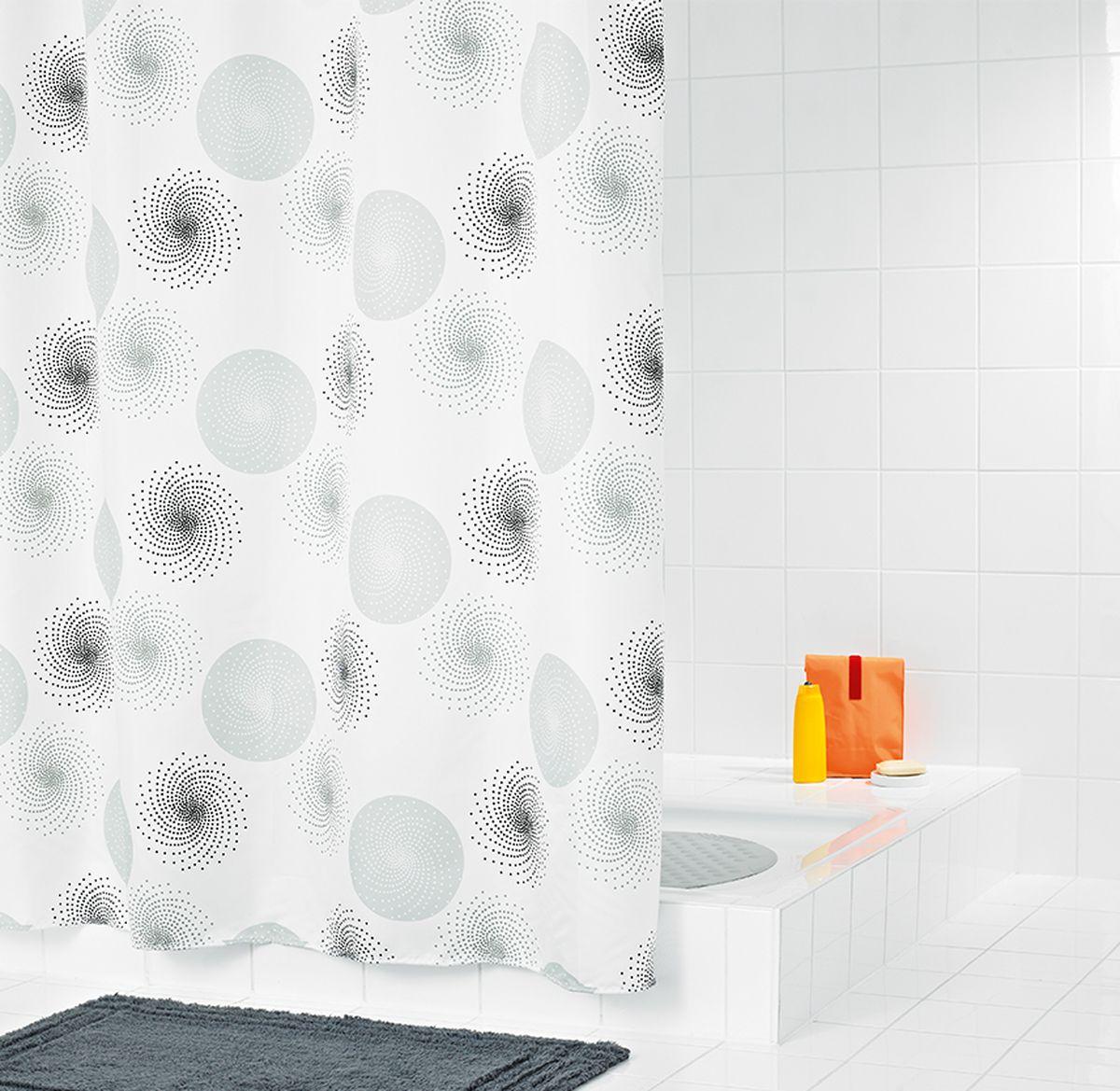 """Штора для ванной комнаты Ridder """"Hurricane """", цвет: серый, серебряный, 180 х 200 см"""