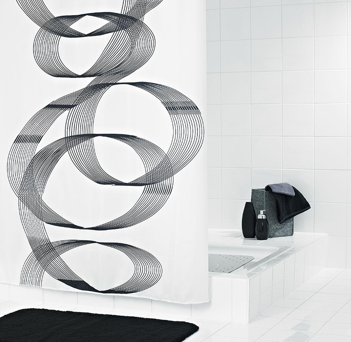 Штора для ванной комнаты Ridder Loop, цвет: черный, белый, 180 х 200 см штора для ванной комнаты vanstore zober цвет белый 180 х 180 см