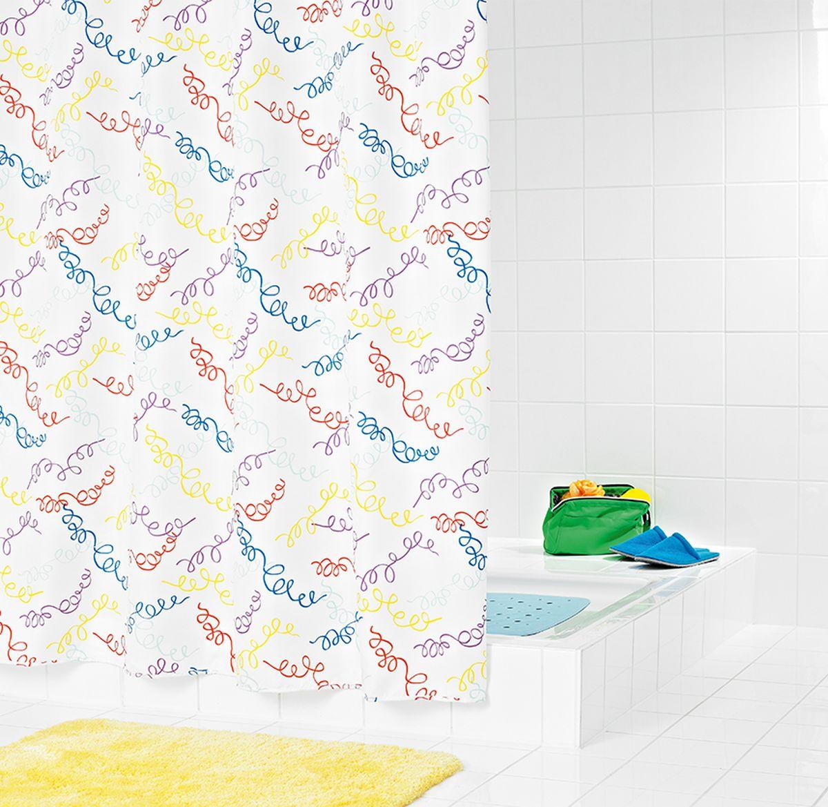 Штора для ванной комнаты Ridder Carneval, цвет: белый, мультиколор, 180 х 200 см штора для ванной комнаты vanstore zober цвет белый 180 х 180 см