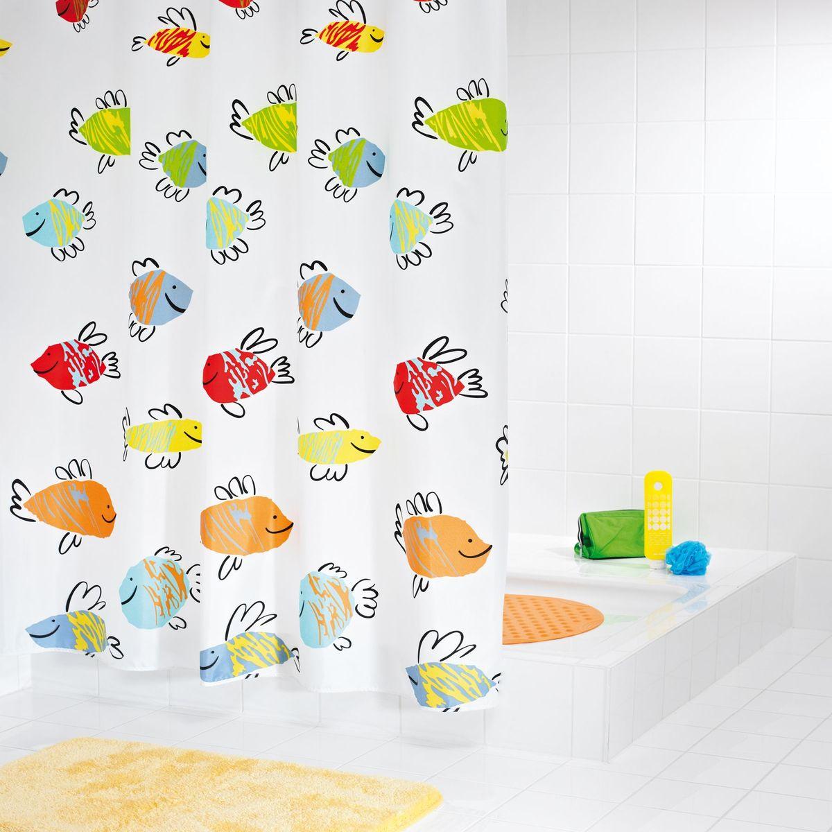 Штора для ванной комнаты Ridder Malawi, цвет: белый, мультиколор, 180 х 200 см штора для ванной комнаты vanstore zober цвет белый 180 х 180 см