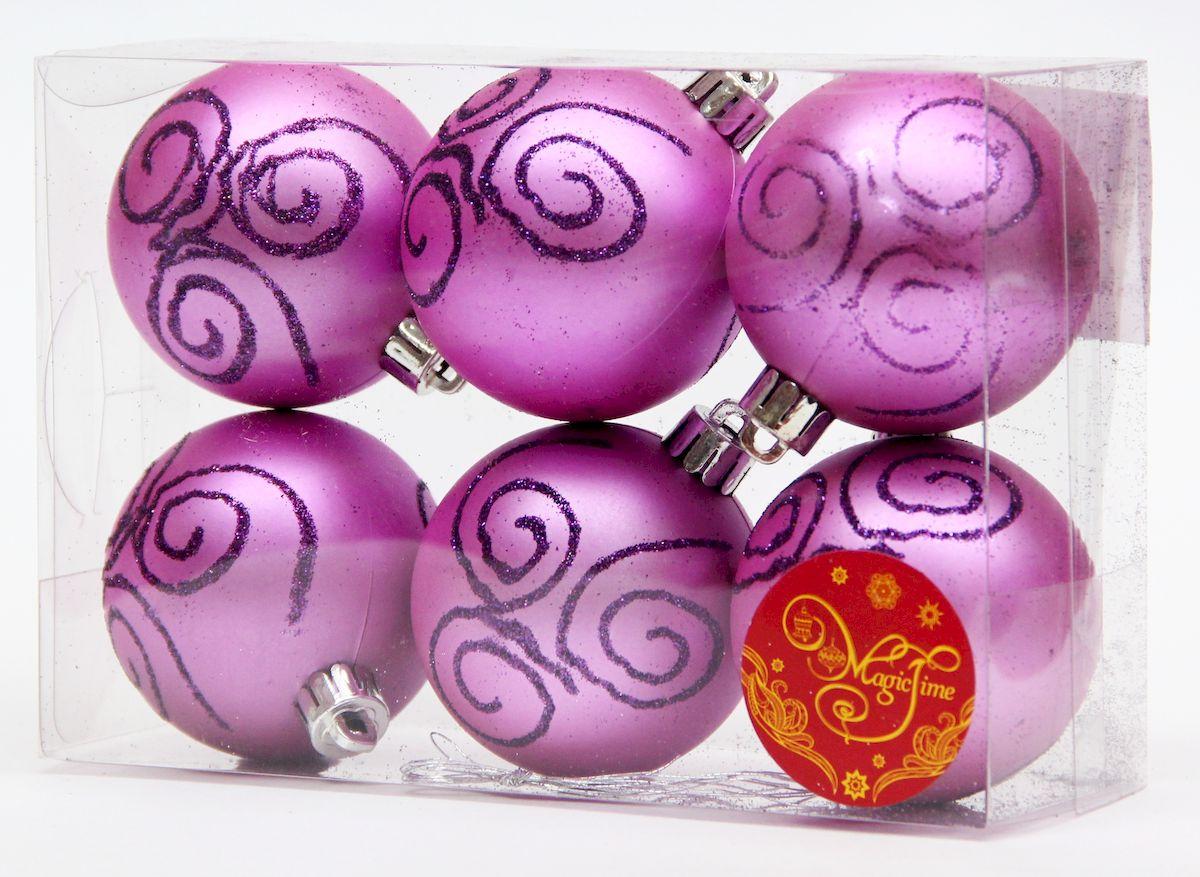"""Украшение новогоднее подвесное Magic Time """"Шар фиолетовый с пурпурной вьюгой"""", диаметр 6 см, 6 шт 41936"""
