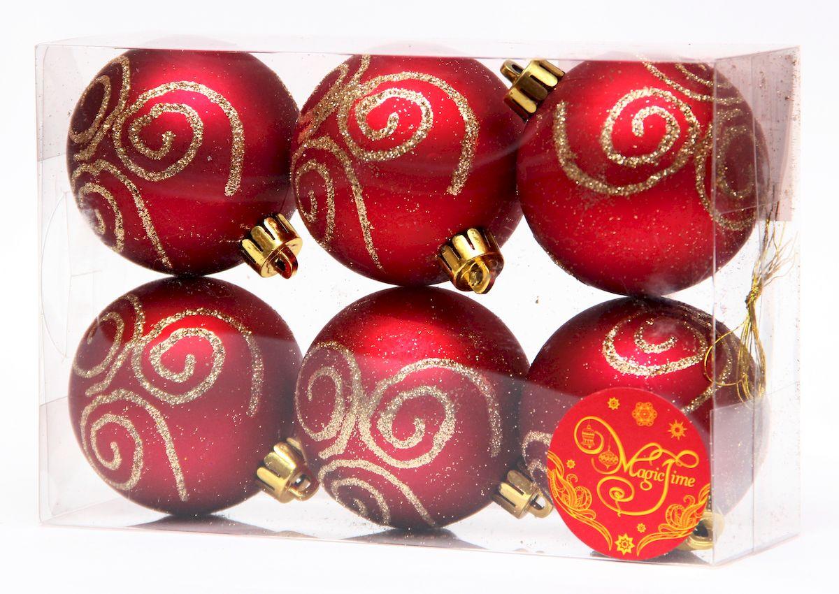 """Украшение новогоднее подвесное Magic Time """"Шар красный с золотой вьюгой"""", диаметр 6 см, 6 шт 41940"""