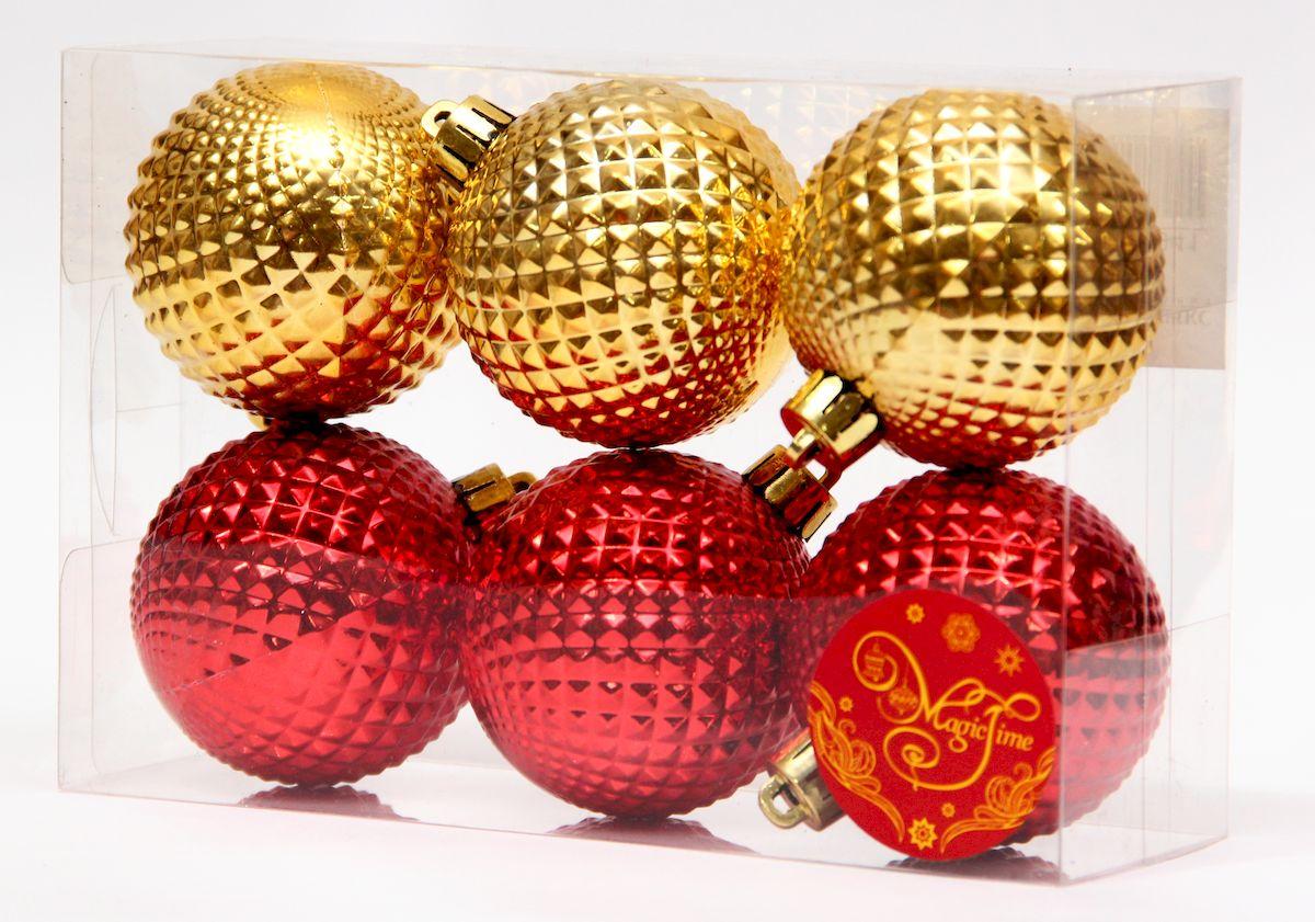 """Украшение новогоднее подвесное Magic Time """"Ассорти шары золотые и красные"""", диаметр 6 см, 6 шт 41941"""