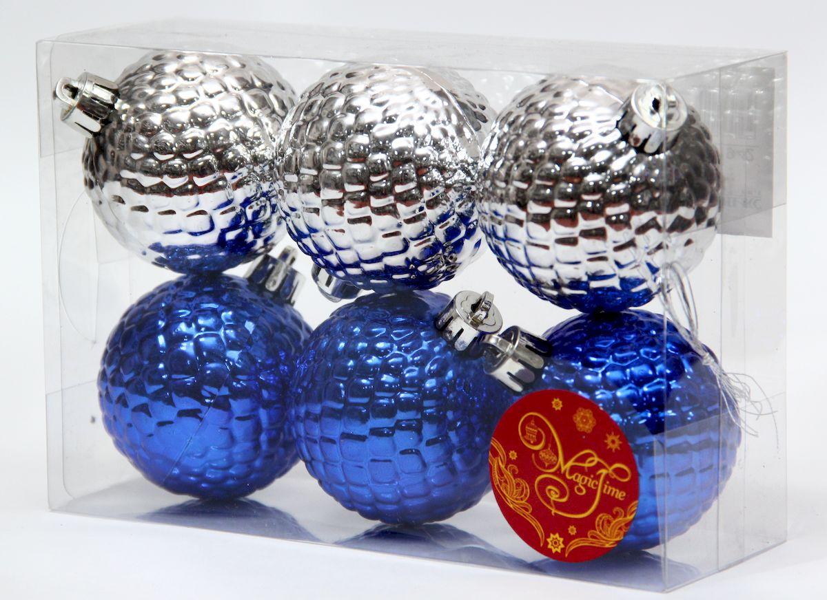 """Украшение новогоднее подвесное Magic Time """"Ассорти шары синие и серебряные"""", диаметр 6 см, 6 шт 41942"""