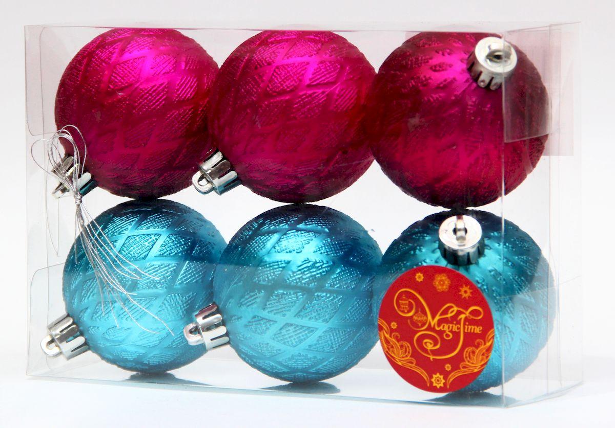 """Украшение новогоднее подвесное Magic Time """"Ассорти шары бирюзовые и розовые"""", диаметр 6 см, 6 шт 41943"""
