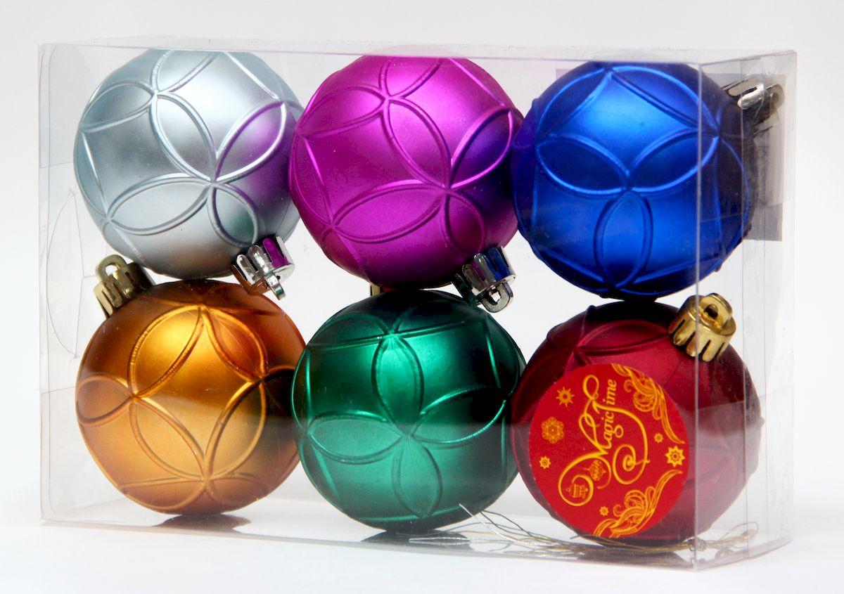 """Украшение новогоднее подвесное Magic Time """"Ассорти шаров разноцветное счастье"""", диаметр 6 см, 6 шт 41945"""