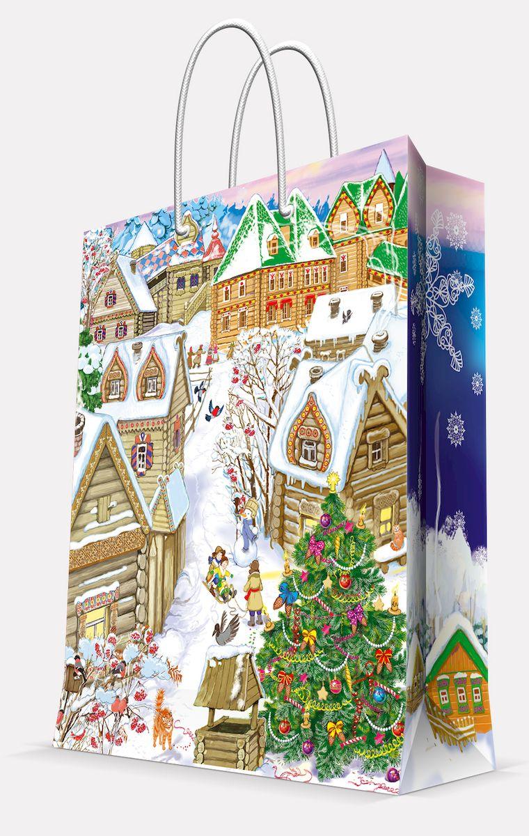 "Пакет подарочный Magic Time ""Снежный город"", 26 х 32,4 х 12,7 см"