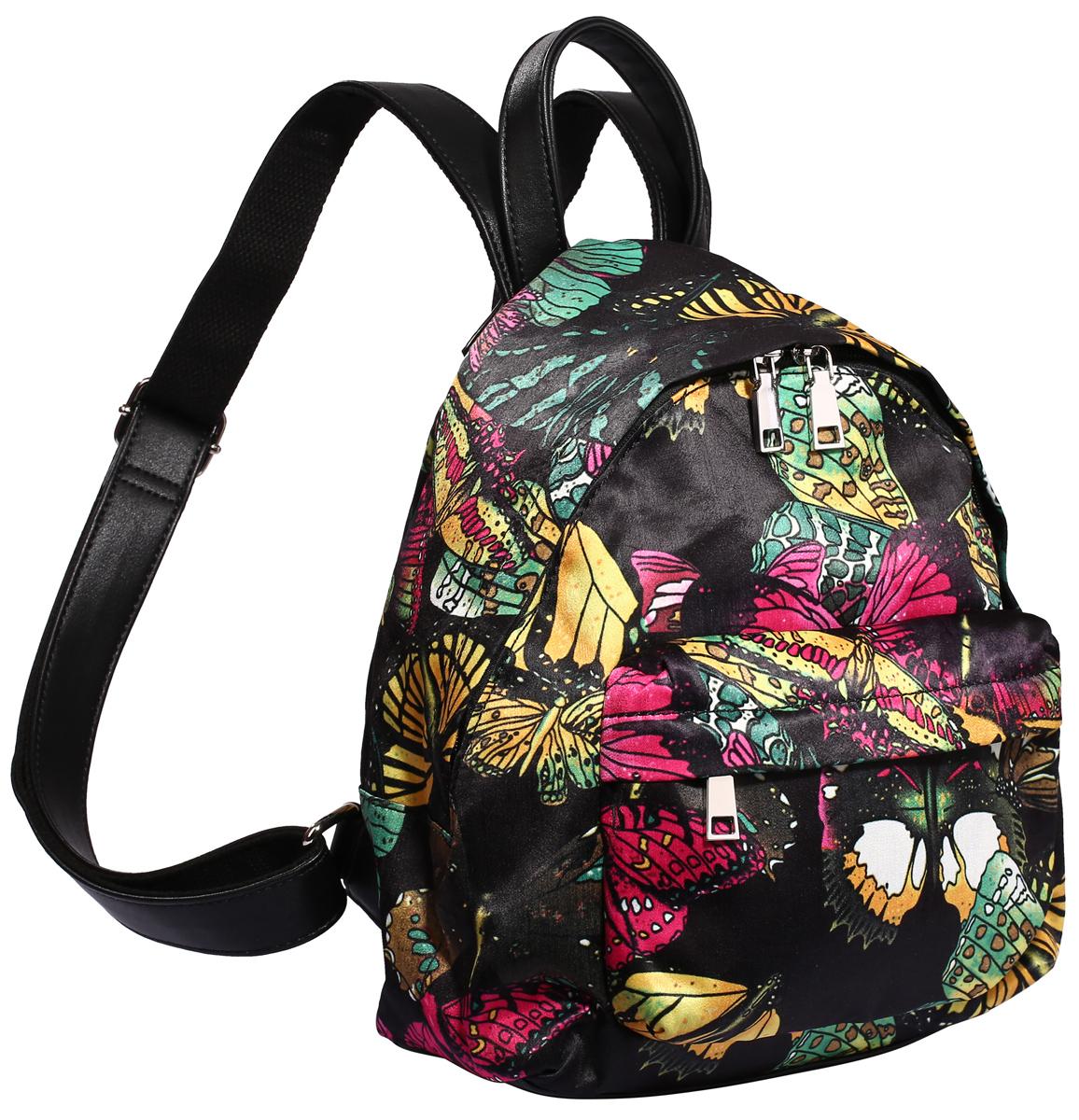 Рюкзак городской женский Pola, цвет: черный, желтый, зеленый, 10 л. 4349