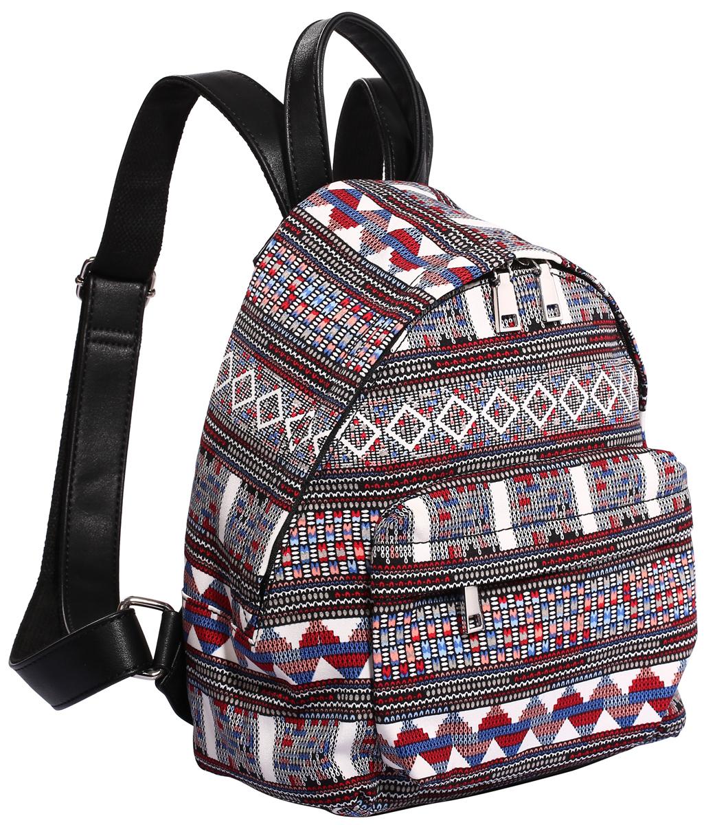 Рюкзак городской женский Pola, цвет: черный, белый, красный, 10 л. 4349