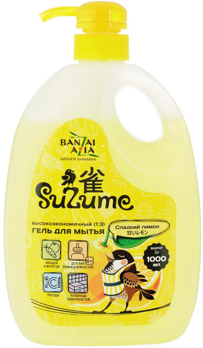 """Гель для мытья посуды """"Suzume"""", с ароматом сладкого лимона, 1 л 420273"""