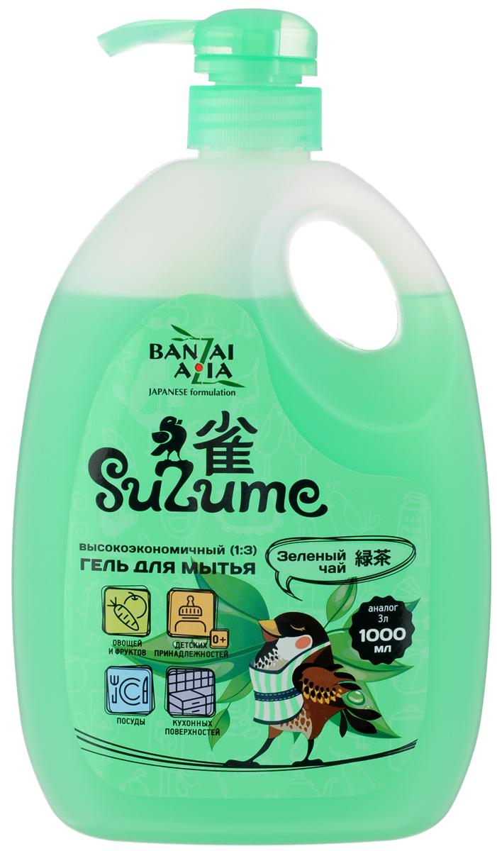 """Гель для мытья посуды """"Suzume"""", с ароматом зеленого чая, 1 л 420266"""