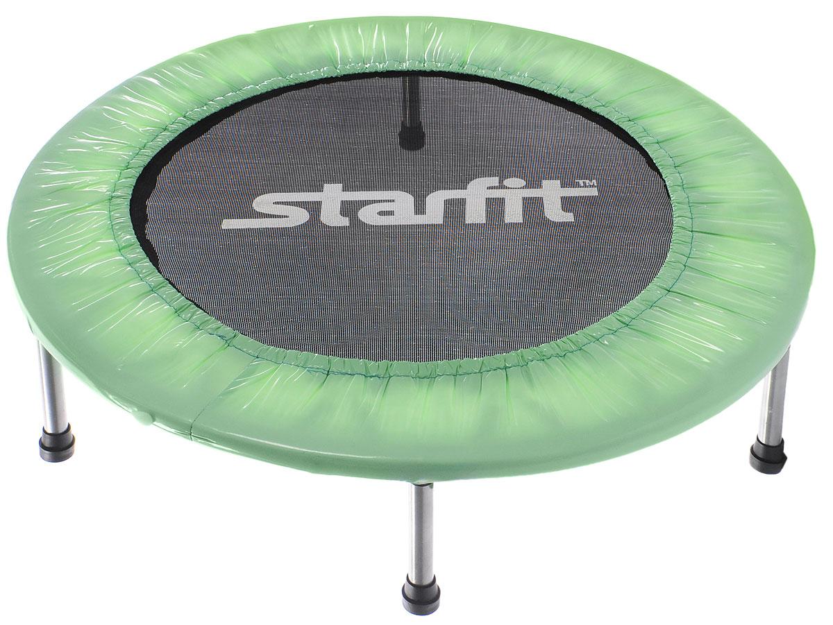 Батут Starfit, цвет: мятный, черный, серый, диаметр 91 смУТ-00008872Батут Star Fit предназначен для тренировок детей и взрослых. Его можно использовать как на улице, так и в помещении. На батуте можно прыгать, кувыркаться, играть, проводить спортивные состязания, экстремальные шоу и многое другое. Основная задача батута - физическое развитие, нагрузки, укрепление различных групп мышц, гармоничное развитие всего организма. Для занятий на батуте можно использовать дополнительный инвентарь: гантели, скакалку. Все это поможет разнообразить комплекс упражнений и достичь оптимального результата. А поскольку придется прилагать значительные усилия, чтобы скоординировать движения и сохранить равновесие, будьте уверены, что ни одна мышца тела не останется неохваченной. Защитные колпачки на ножках батута съемные. Занятия на батуте способствуют укреплению не только всех без исключения групп мышц, но и помогают развивать гибкость, а также сжигают немало лишних калорий! Диаметр батута: 91 см. Количество ножек: 6. Высота батута:...