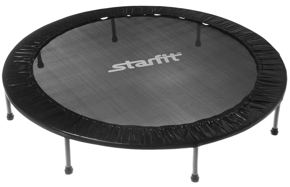 Батут Star Fit, цвет: черный, серый, диаметр 152 смУТ-00008877Батут Star Fit предназначен для тренировок детей и взрослых. Его можно использовать как на улице, так и в помещении. На батуте можно прыгать, кувыркаться, играть, проводить спортивные состязания, экстремальные шоу и многое другое. Основная задача батута - физическое развитие, нагрузки, укрепление различных групп мышц, гармоничное развитие всего организма. Для занятий на батуте можно использовать дополнительный инвентарь: гантели, скакалку. Все это поможет разнообразить комплекс упражнений и достичь оптимального результата. А поскольку придется прилагать значительные усилия, чтобы скоординировать движения и сохранить равновесие, будьте уверены, что ни одна мышца тела не останется неохваченной. Защитные колпачки на ножках батута съемные. Занятия на батуте способствуют укреплению не только всех без исключения групп мышц, но и помогают развивать гибкость, а также сжигают немало лишних калорий! Диаметр батута: 152 см. Количество ножек: 8. Высота...