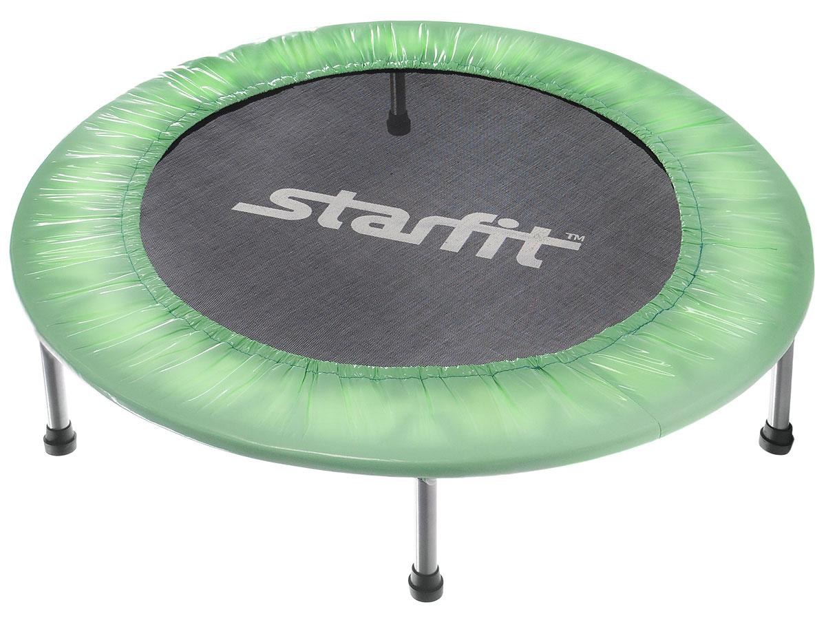 Батут Starfit, цвет: мятный, черный, серый, диаметр 101 смУТ-00008873Батут Star Fit предназначен для тренировок детей и взрослых. Его можно использовать как на улице, так и в помещении. На батуте можно прыгать, кувыркаться, играть, проводить спортивные состязания, экстремальные шоу и многое другое. Основная задача батута - физическое развитие, нагрузки, укрепление различных групп мышц, гармоничное развитие всего организма. Для занятий на батуте можно использовать дополнительный инвентарь: гантели, скакалку. Все это поможет разнообразить комплекс упражнений и достичь оптимального результата. А поскольку придется прилагать значительные усилия, чтобы скоординировать движения и сохранить равновесие, будьте уверены, что ни одна мышца тела не останется неохваченной. Защитные колпачки на ножках батута съемные. Занятия на батуте способствуют укреплению не только всех без исключения групп мышц, но и помогают развивать гибкость, а также сжигают немало лишних калорий! Диаметр батута: 101 см. Количество ножек: 6. Высота...