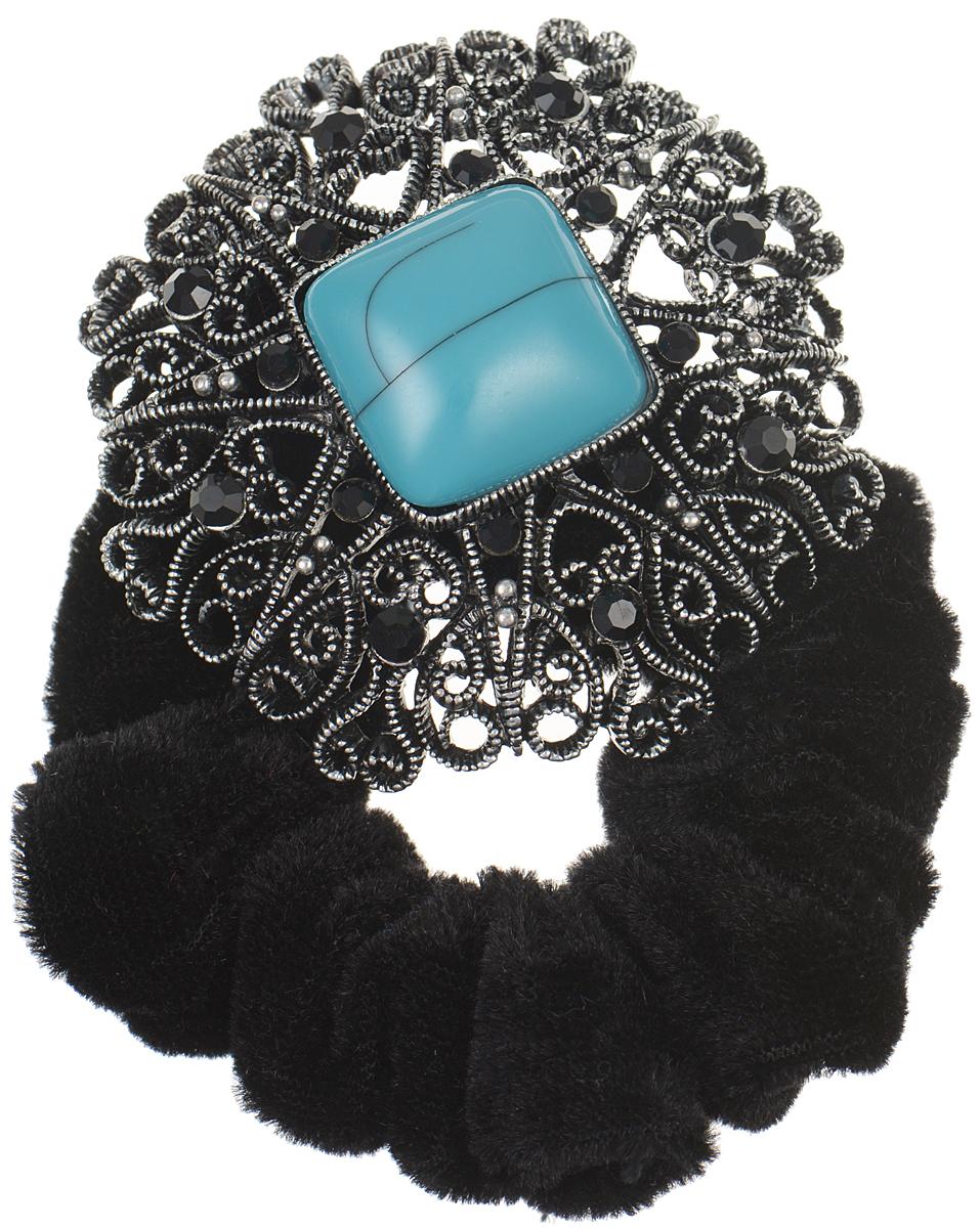 Резинка для волос Fashion House, цвет: черный, серебряный, бирюзовый. FH33186FH33186Роскошная резинка для волос Fashion House подчеркнет красоту вашей прически. Изделие выполнено из мягкого бархата и дополнено крупным металлическим декоративным элементом, украшенным стразами и камнем. Такая стильная резинка для волос добавит шарма в повседневный образ и станет практичным аксессуаром, с помощью которого вы сможете создавать креативные прически разных типов и стилей.