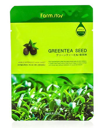 FarmStay Тканевая маска с натуральным экстрактом семян зеленого чая, 23 мл