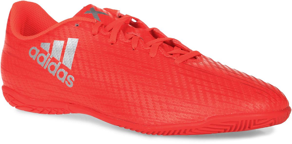 Бутсы зальные детские Adidas X 16.4 IN J, цвет: оранжевый. S75693. Размер 5,5 (37)S75693Бутсы зальные детские Adidas X 16.4 IN J предназначены для игры в футбол в зале на высоких скоростях. Легкий верх Chaos Feel из искусственной кожи обеспечивает необходимую поддержку стопы, лучший контроль мяча и надежную посадку. Модель имеет удобную шнуровку. Резиновая подошва Chaos с рельефом предназначена для идеального сцепления с гладкими полированными поверхностями. Внутренний материал и стелька изготовлены из дышащего текстиля. Играй молниеносно, вноси хаос и устанавливай свои правила игры. Стань тем, кто изменит все.