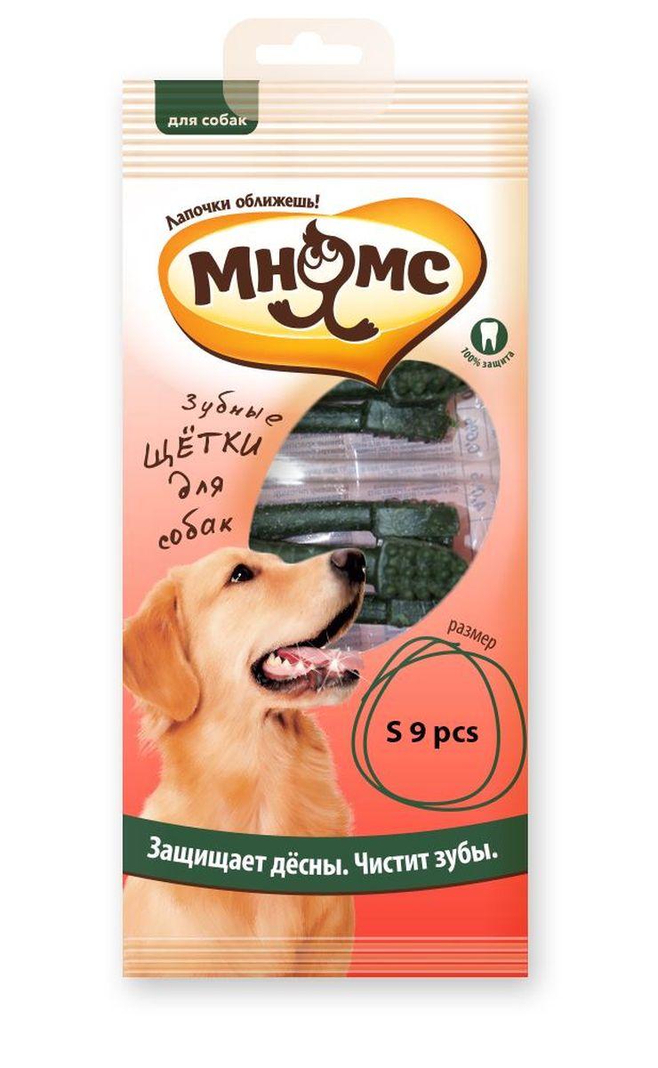 Лакомство для собак Мнямс Зубная щетка, длина 7 см, 9 шт206039Мнямс Зубная щётка зеленая малая 9 шт. Низкокалорийное лакомство для собак средних и мелких пород - вкусное и здоровое угощение. Содержит мало жиров и богато клетчаткой. Лакомство препятствует образованию зубного камня и освежает дыхание. Оригинальная форма и твердая текстура помогают эффективно очистить зубы и межзубное пространство от налета и зубного камня, поддерживает здоровье зубов, ротовой полости, помогает сформировать красивый экстерьер головы, благодаря укреплению жевательных мышц собаки. Лакомства МНЯМС изготавливаются только из натуральных компонентов. Не содержит искусственных добавок и красителей. Белок – 4г/100г, клетчатка – 0,4%, зола 2,4%, жир 2,4г/100г, влага 15,3%.Кукурузный крахмал 57,89%, прежелатинизированный крахмал 15%, глицерол 10%, ароматизатор 1%, сорбат калия 0,5%, дегидроацитат натрия, диоксид титана 0,3%, вода 15,3%.Рекомендации по кормлению: Щенкам: после шести месяцев 1-4 штуки в день. Взрослым собакам: 3-6 штук в день