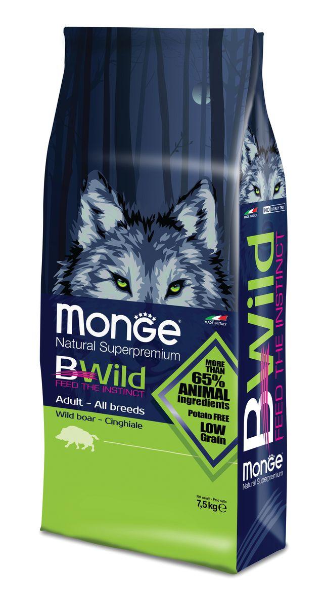 Корм сухой для взрослых собак Monge Bwild Dog Boar, с мясом дикого кабана, 7,5 кг70011815MONGE DOG BWILD — ДИКИЙ КАБАН СБАЛАНСИРОВАННЫЙ ПОЛНОРАЦИОННЫЙ КОРМ ДЛЯ ВЗРОСЛЫХ СОБАК ВСЕХ ПОРОД. Анализ компонентов: Сырой белок 29,00 %, сырые масла и белки 17,00 %, сырая клетчатка 2,50 %, сырая зола 7,00 %, кальций 1,00 %, фосфор 0,90 %, омега-6 незаменимые жирные кислоты 3,00 %, омега-3 незаменимые жирные кислоты 0,70 %, энергетическая ценность 4 200 ккал/кг. Пищевые добавки в одном кг: Витамин А 28 000 МЕ, витамин D3 1 700 МЕ, витамин Е 570 мг, витамин B1 13 мг, витамин B2 17 мг, витамин В6 8 мг, витамин B12 140 мг, биотин 19 мг, никотиновая кислота 75 мг, витамин C 200 мг, пантотеновая кислота 20 мг, фолиевая кислота 2,60 мг, холина хлорид 3 600 мг, инозитол 3,50 мг, сульфат марганца моногидрат 32 мг, оксид цинка 150 мг, сульфат меди пентагидрат 13 мг, сульфат железа моногидрат 110 мг, селенит натрия 0,20 мг, иодат кальция 1,80 мг, L-карнитин 200 мг, DL-метионин 11 г. Технологические добавки в одном кг: Натуральная смесь из токоферола и экстракта розмарина обыкновенного.Кабан...