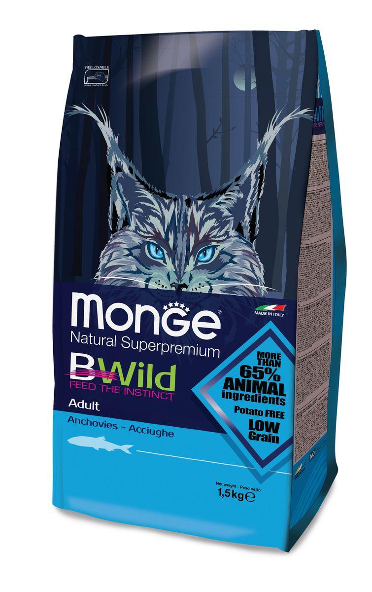 Корм сухой для взрослых кошек Monge Bwild Cat Anchovies, с анчоусами, 1,5 кг70012010Monge Bwild Cat Cat Anchovies корм для взрослых кошек с анчоусам 1,5 кгАнализ компонентов: Сырой белок 34,00 %, сырые масла и белки 17,00 %, сырая клетчатка 2,50 %, сырая зола 7,00 %, кальций 1,00 %, фосфор 0,80 %, омега-6 незаменимые жирные кислоты 8,00 %, омега-3 незаменимые жирные кислоты 0,95 %, энергетическая ценность 4 105 ккал/кг. Пищевые добавки в одном кг: Витамин А 26 000 МЕ, витамин D3 1 200 МЕ, витамин Е 470 мг, витамин B1 13 мг, витамин B2 14 мг, витамин В6 12 мг, витамин B12 8 мг, биотин 0,3 мг, никотиновая кислота 0,75 мг, витамин C 200 мг, пантотеновая кислота 20 мг, фолиевая кислота 2,60 мг, холина хлорид 3 600 мг, инозитол 13 мг, сульфат марганца моногидрат 32 мг, оксид цинка 150 мг, сульфат меди пентагидрат 13 мг, сульфат железа моногидрат 110 мг, селенит натрия 0,20 мг, иодат кальция 1,80 мг, L-карнитин 550 мг, DL-метионин 10 г, таурин 0,26%. Технологические добавки в одном кг: Натуральная смесь из токоферола и экстракта розмарина обыкновенного.Ингредиенты: Анчоусы...