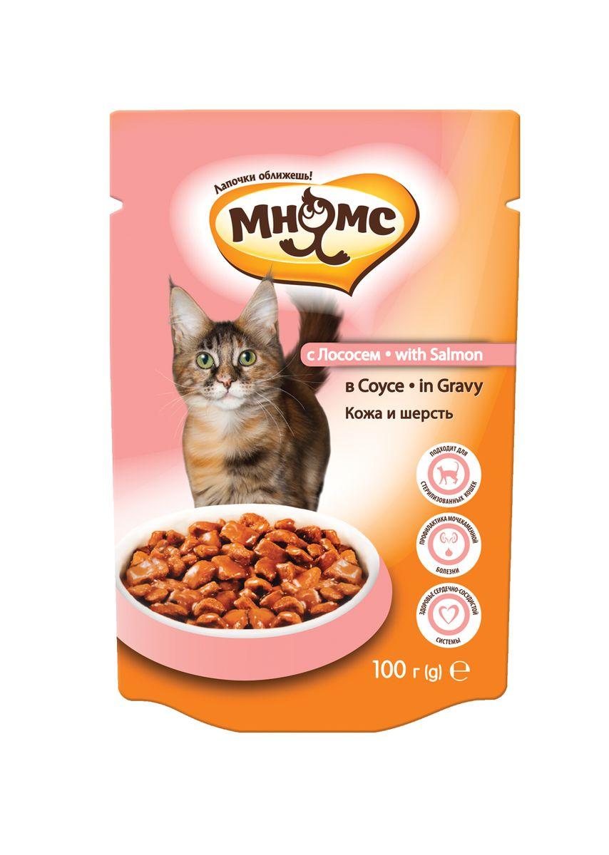 Консервы для взрослых кошек Мнямс Кожа и шерсть, в соусе, с лососем, 100 г702297Полноценное и сбалансированное питание с лососем без добавления искусственных красителей и консервантов для взрослых кошек, склонных к аллергии. Также подходит для стерилизованных животных. Мясо лосося является источником ценного белка и жирных кислот. Легко усваивается и обеспечивает здоровье кожи и придает блеск шерсти. Пульпа сахарной свёклы поддерживает оптимальное пищеварение, укрепляет здоровье ЖКТ и повышает иммунитет. Анализ: сырой белок 8,0%, сырые масла и жиры 5,0%, сырая зола 2,50%, сырая клетчатка 1,0%, влажность 80,0%.Состав: мясо и производные животного происхождения (>25% курица и птица, >3% свинина), рыба и производные рыбы (>4% лосось), масла и жиры, производные растительного происхождения (из которых 0,6 % пульпа сахарной свеклы), минералы, сахара. Добавки: Пищевые добавки/кг: витамин D 250 МЕ; витамин Е (альфа-токоферол) 80 мг; цинк (сульфат цинка моногидрат) 7 мг; марганец (сульфат марганца моногидрат) 1,5 мг.индивидуальная непереносимостьРекомендации по...