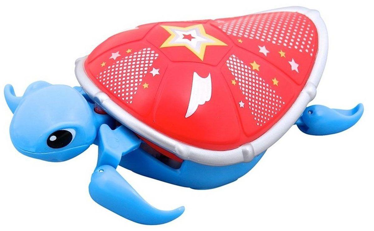 Moose Интерактивная игрушка Черепашка цвет синий красный28253/ast28181(28252,28253,28254,28255)Интерактивная игрушка Moose Черепашка без сомнения заинтригует детей, которые очень любят животных. Игрушка выполнена из прочных материалов и обладает интересным окрасом. От своих живых собратьев черепашка отличается яркой расцветкой. Голова и ласты выкрашены в синий цвет, а ее красный панцирь украшен белыми звездочками. На брюшке черепахи находится кнопка для включения - выключения игрушки. Питомец отлично ползает по суше, а так же плавает в воде. При движении черепашка передвигает ластами и шевелит головой словно настоящая. Купание с таким питомцем обязательно вызовет у ребенка неподдельный восторг, даже нелюбимое занятие как мытье головы пройдет незамеченным. Для работы понадобится батарейка типа ААА (в комплект не входит).