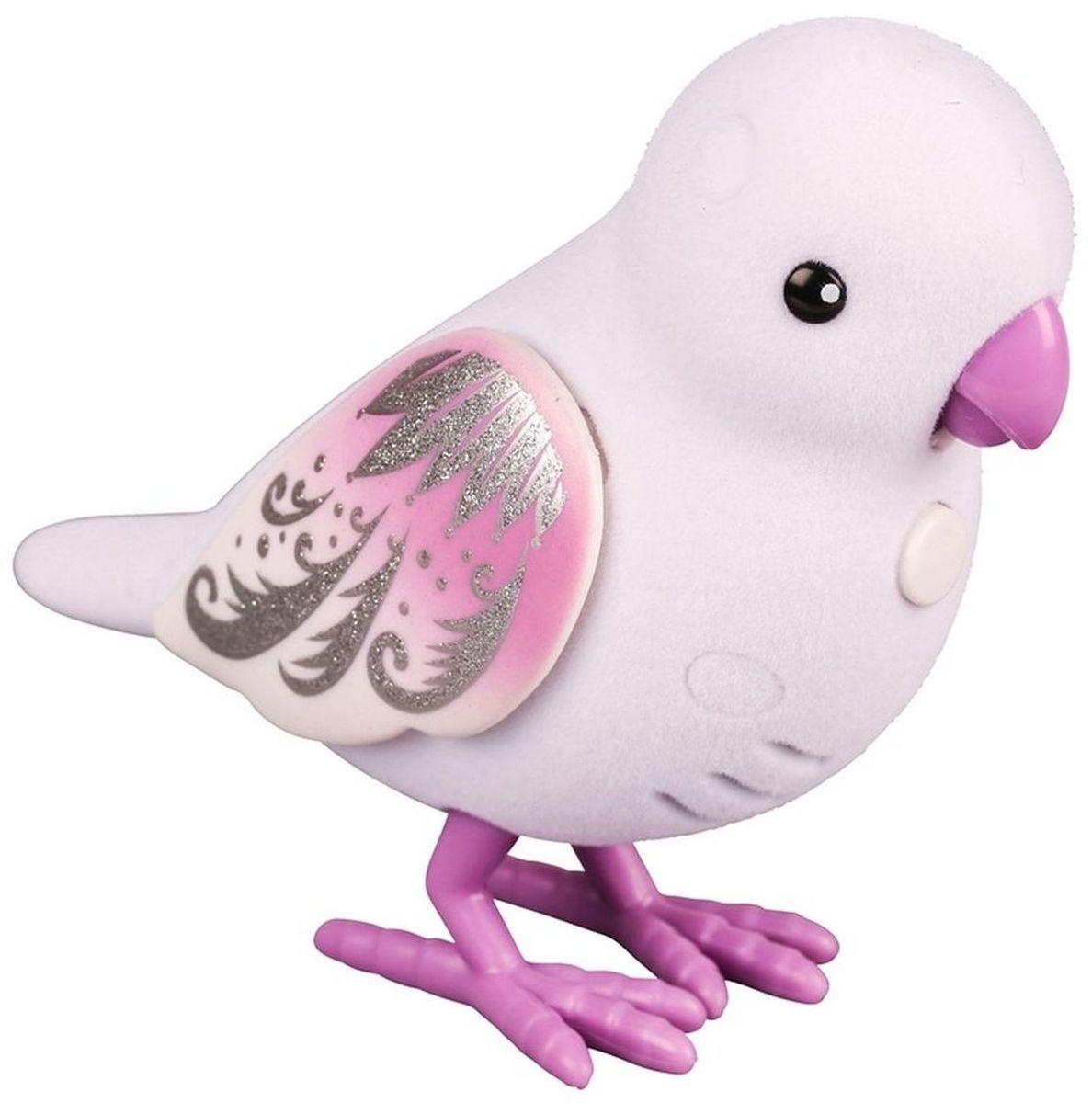 Little Live Pets Интерактивная игрушка Птичка цвет белый фиолетовый28234/ast28232(28234,28235,28236,28237,28238,28239)Интерактивная птичка Little Live Pets порадует вас ярким видом и звонким пением. На брюшке птички находится переключатель включения-выключения. На спинке - сенсорный датчик. Если птичку погладить по голове, она споет для вас. В ее репертуаре 30 мелодий. В одиночестве она щебечет и тихо поет, чтобы на нее обратили внимание. Через полчаса в одиночестве птичка засыпает, чтобы разбудить ее, нужно нажать на кнопку на ее груди. Если эту кнопку удерживать, птичка повторит за вами произнесенную фразу. У птички двигаются лапки, и она взмахивает своими крылышками. Это замечательный подарок для тех, кто по каким-то причинам не может завезти в доме настоящую птичку. Игрушка изготовлена из высококачественного пластика, обтянутого приятным на ощупь флоком. Ребенок с радостью будет брать с собой на прогулку своего питомца, ведь он помещается в маленькой ладони малыша. Для работы требуются 2 батарейки типа AАА (не входят в комплект).
