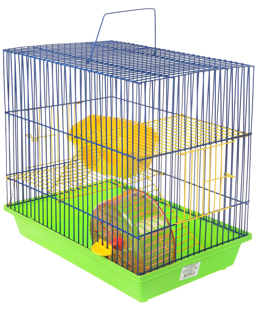 Клетка для грызунов ЗооМарк, 3-этажная, цвет: салатовый поддон, синяя решетка, желтые этажи, 36 х 23 х 34,5 см. 135ж135ж_салатовый, синий, желтыйКлетка ЗооМарк, выполненная из полипропилена и металла, подходит для мелких грызунов. Изделие трехэтажное, оборудовано колесом для подвижных игр и пластиковым домиком. Клетка имеет яркий поддон, удобна в использовании и легко чистится. Сверху имеется ручка для переноски, а сбоку удобная дверца. Такая клетка станет уединенным личным пространством и уютным домиком для маленького грызуна.