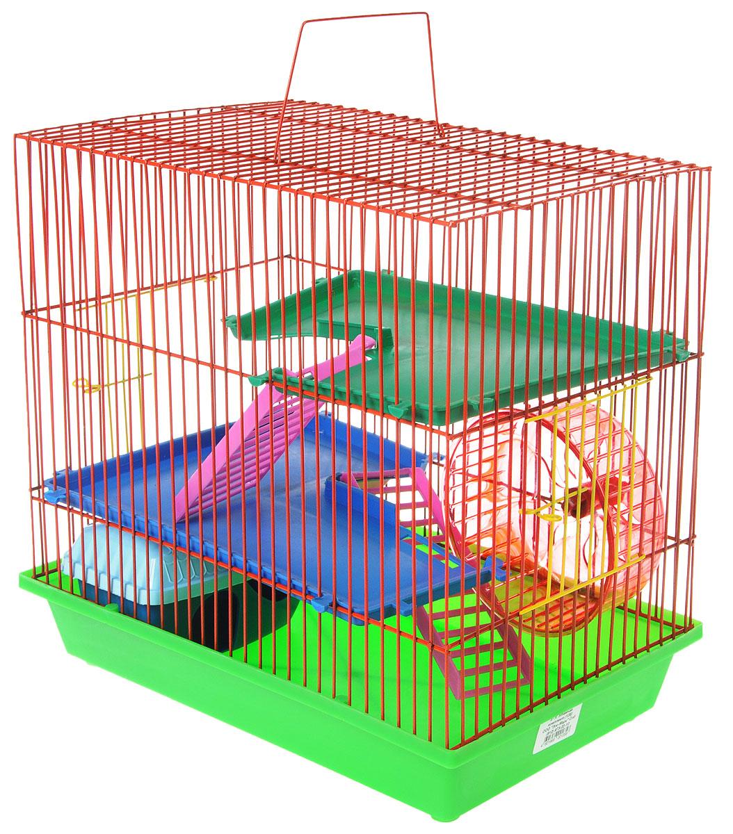 Клетка для грызунов ЗооМарк, 3-этажная, цвет: салатовый поддон, красная решетка, синие, зеленые этажи, 36 х 22,5 х 34 см. 135135_салатовый, красный, синий, зеленыйКлетка ЗооМарк, выполненная из полипропилена и металла, подходит для мелких грызунов. Изделие трехэтажное, оборудовано колесом для подвижных игр и пластиковым домиком. Клетка имеет яркий поддон, удобна в использовании и легко чистится. Сверху имеется ручка для переноски, а сбоку удобная дверца. Такая клетка станет уединенным личным пространством и уютным домиком для маленького грызуна.