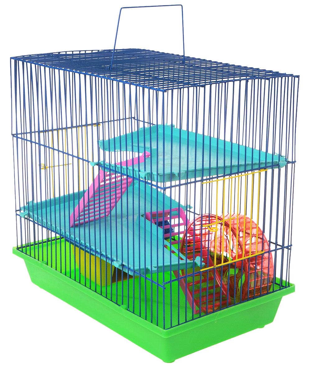 Клетка для грызунов ЗооМарк, 3-этажная, цвет: салатовый поддон, синяя решетка, бирюзовые этажи, 36 х 22,5 х 34 см. 135135_салатовый, синий, бирюзовыйКлетка ЗооМарк, выполненная из полипропилена и металла, подходит для мелких грызунов. Изделие трехэтажное, оборудовано колесом для подвижных игр и пластиковым домиком. Клетка имеет яркий поддон, удобна в использовании и легко чистится. Сверху имеется ручка для переноски, а сбоку удобная дверца. Такая клетка станет уединенным личным пространством и уютным домиком для маленького грызуна.