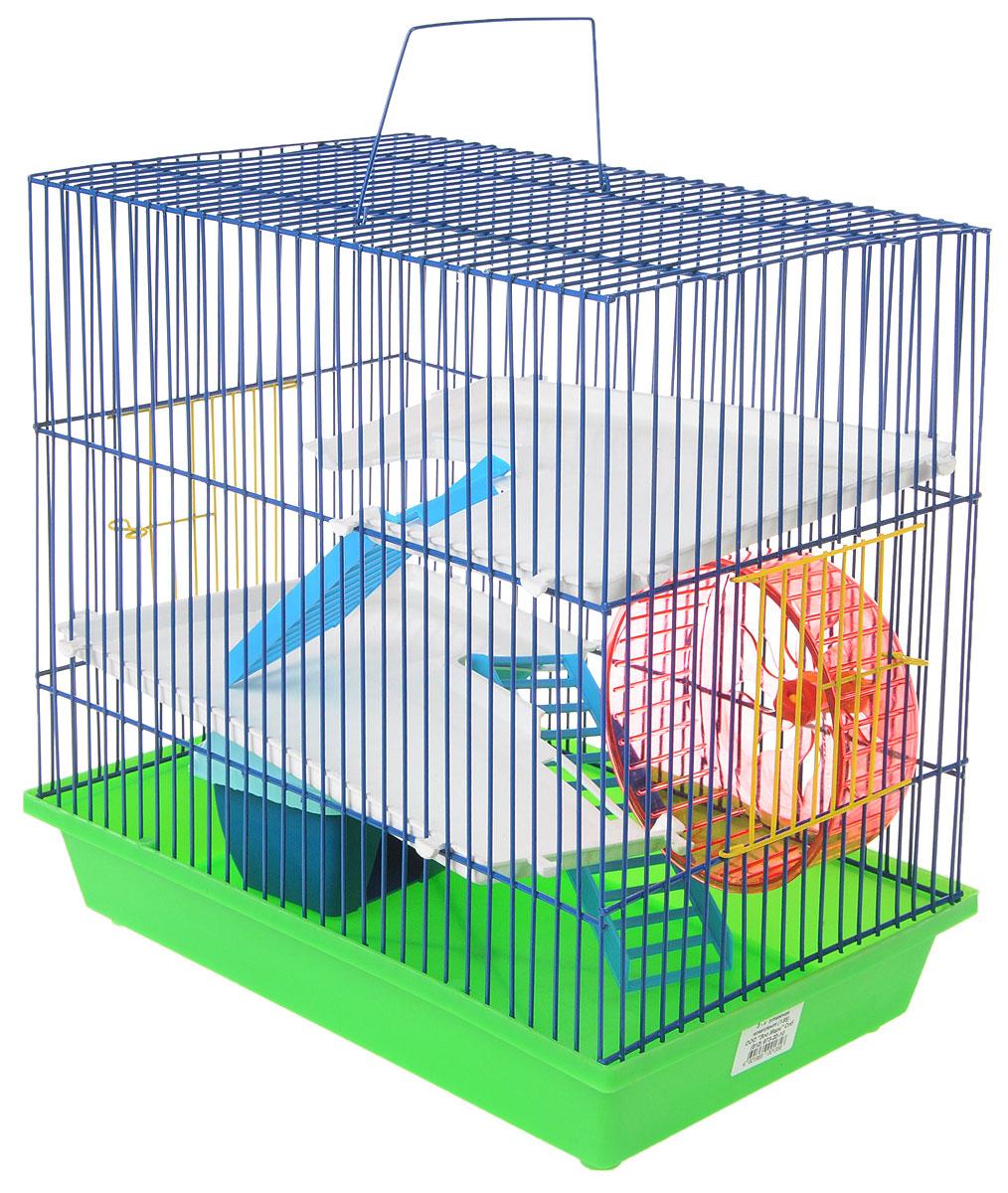 Клетка для грызунов ЗооМарк, 3-этажная, цвет: салатовый поддон, синяя решетка, белые этажи, голубая крыша, 36 х 22,5 х 34 см. 135135_салатовый, синий, белый1Клетка ЗооМарк, выполненная из полипропилена и металла, подходит для мелких грызунов. Изделие трехэтажное, оборудовано колесом для подвижных игр и пластиковым домиком. Клетка имеет яркий поддон, удобна в использовании и легко чистится. Сверху имеется ручка для переноски, а сбоку удобная дверца. Такая клетка станет уединенным личным пространством и уютным домиком для маленького грызуна.