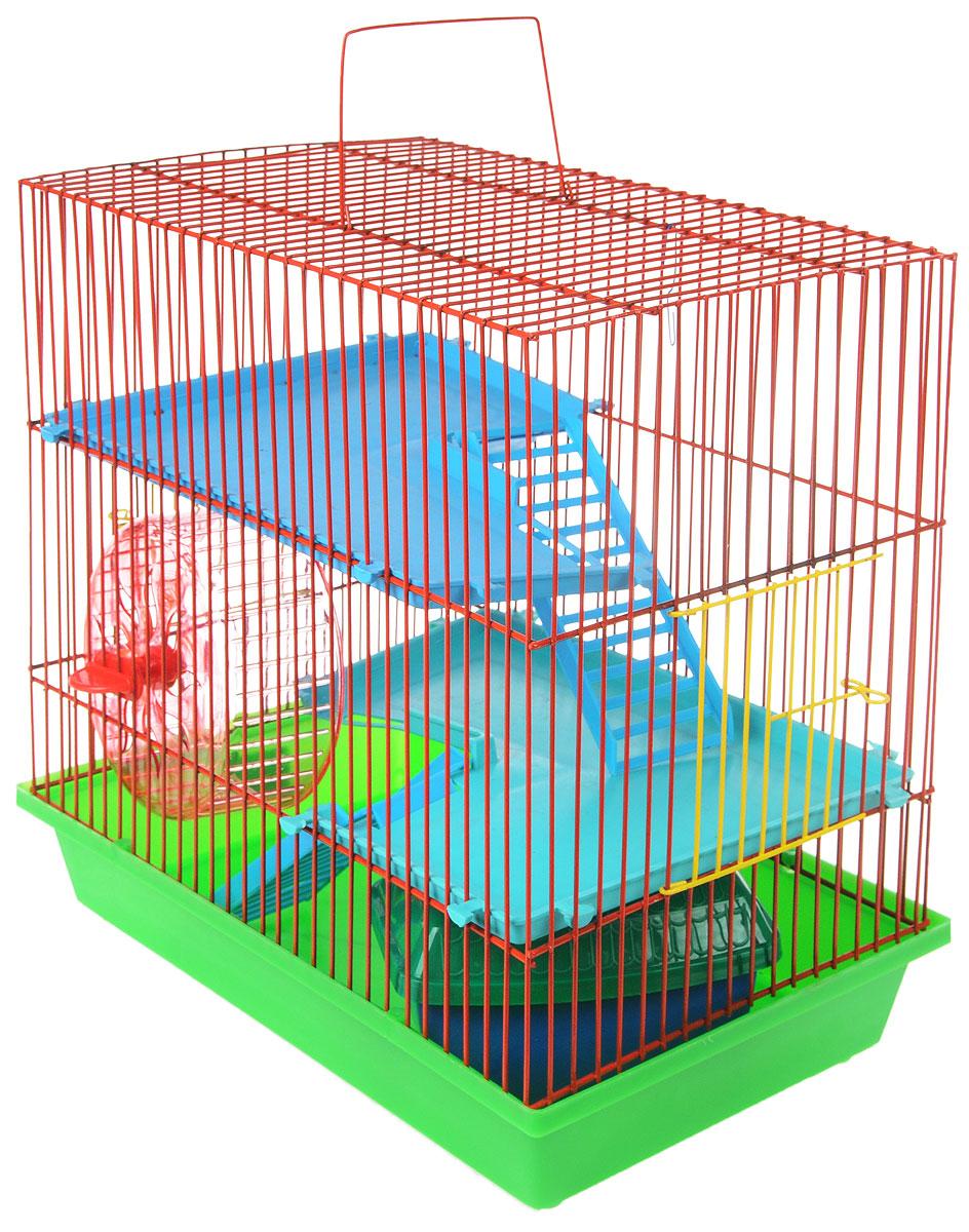 Клетка для грызунов ЗооМарк, 3-этажная, цвет: салатовый поддон, красная решетка, бирюзовые, голубые этажи, 36 х 22,5 х 34 см. 135135_салатовый, красный, бирюзовый, голубойКлетка ЗооМарк, выполненная из полипропилена и металла, подходит для мелких грызунов. Изделие трехэтажное, оборудовано колесом для подвижных игр и пластиковым домиком. Клетка имеет яркий поддон, удобна в использовании и легко чистится. Сверху имеется ручка для переноски, а сбоку удобная дверца. Такая клетка станет уединенным личным пространством и уютным домиком для маленького грызуна.