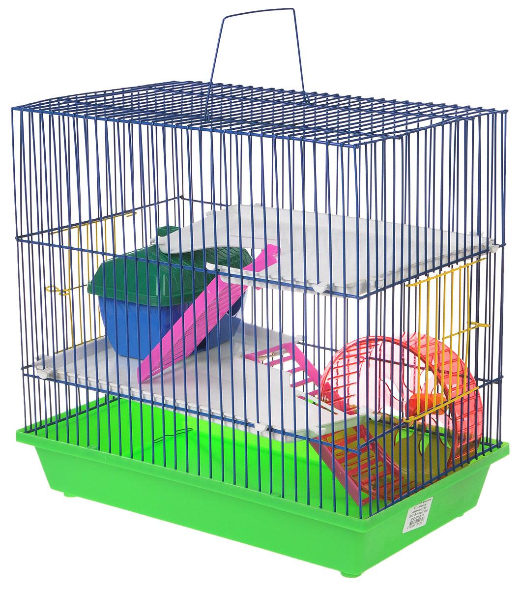 Клетка для грызунов ЗооМарк, 3-этажная, цвет: салатовый поддон, синяя решетка, белые этажи, зеленая крыша, 36 х 22,5 х 34 см. 135135_салатовый, синий, белыйКлетка ЗооМарк, выполненная из полипропилена и металла, подходит для мелких грызунов. Изделие трехэтажное, оборудовано колесом для подвижных игр и пластиковым домиком. Клетка имеет яркий поддон, удобна в использовании и легко чистится. Сверху имеется ручка для переноски, а сбоку удобная дверца. Такая клетка станет уединенным личным пространством и уютным домиком для маленького грызуна.