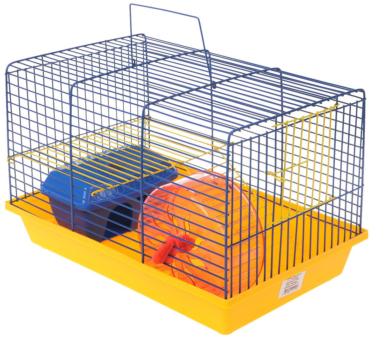Клетка для грызунов ЗооМарк, 2-этажная, цвет: желтый поддон, синяя решетка, желтый этаж, 36 х 22 х 24 см125_желтый, синий, желтыйКлетка ЗооМарк, выполненная из полипропилена и металла, подходит для мелких грызунов. Изделие двухэтажное, оборудовано колесом для подвижных игр и пластиковым домиком. Клетка имеет яркий поддон, удобна в использовании и легко чистится. Сверху имеется ручка для переноски, а сбоку удобная дверца. Такая клетка станет уединенным личным пространством и уютным домиком для маленького грызуна.