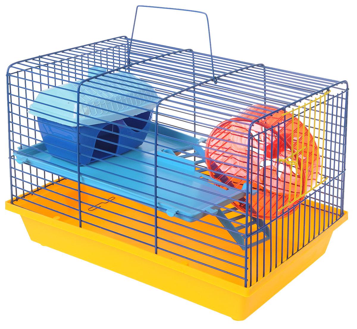 Клетка для грызунов ЗооМарк, 2-этажная, цвет: желтый поддон, синяя решетка, голубой этаж, 36 х 23 х 24 см125_желтый, синий, голубойКлетка ЗооМарк, выполненная из полипропилена и металла, подходит для мелких грызунов. Изделие двухэтажное, оборудовано колесом для подвижных игр и пластиковым домиком. Клетка имеет яркий поддон, удобна в использовании и легко чистится. Сверху имеется ручка для переноски, а сбоку удобная дверца. Такая клетка станет уединенным личным пространством и уютным домиком для маленького грызуна.
