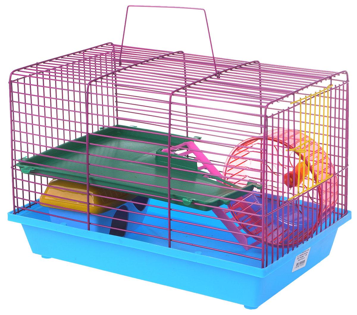 Клетка для грызунов ЗооМарк, 2-этажная, цвет: голубой поддон, фиолетовая решетка, зеленый этаж, 36 х 23 х 24 см125_голубой, фиолетовый, зеленыйКлетка ЗооМарк, выполненная из полипропилена и металла, подходит для мелких грызунов. Изделие двухэтажное, оборудовано колесом для подвижных игр и пластиковым домиком. Клетка имеет яркий поддон, удобна в использовании и легко чистится. Сверху имеется ручка для переноски, а сбоку удобная дверца. Такая клетка станет уединенным личным пространством и уютным домиком для маленького грызуна.