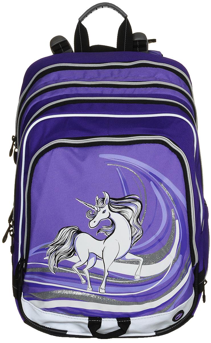 BagMaster Рюкзак детский с наполнением цвет фиолетовый 1 предметBM-S1A 0114 BДетский рюкзак BagMaster обязательно понравится вашей школьнице. Рюкзак выполнен из прочных и высококачественных материалов. Содержит три вместительных отделения, закрывающихся на застежки-молнии с двумя бегунками. Бегунки застежек дополнены удобными металлическими держателями. Внутри первого отделения находятся органайзер для канцелярских принадлежностей, карман-сетка на молнии, карман на липучке под мобильный телефон и лента с карабином для ключей. Во втором отделении находится бирка для заполнения личных данных ученика. Лицевая сторона рюкзака оснащена накладным вместительным карманом на молнии, внутри которого располагается открытый карман. Рюкзак имеет один боковой карман для бутылки с водой. Специально разработанная архитектура спинки со стабилизирующими набивными элементами повторяет естественный изгиб позвоночника. Набивные элементы обеспечивают вентиляцию спины ребенка. Задняя часть спинки дополнена легкой алюминиевой рамкой, повторяющей контур позвоночника и снимающей...
