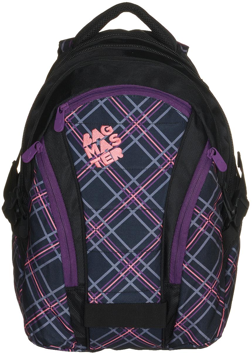 BagMaster Рюкзак детский цвет черный фиолетовыйBM-BAG 10 FДетский рюкзак BagMaster сочетает в себе современный дизайн, функциональность и долговечность. Выполнен из прочных и высококачественных материалов. Рюкзак содержит три вместительных отделения, закрывающихся на застежки-молнии с двумя бегунками. В первом отделении располагаются карман-сетка на молнии, открытый карман, карман на липучке, органайзер для канцелярских принадлежностей и лента с карабином для ключей. Во втором отделении находится мягкий карман на липучке для ноутбука диагональю 15,4 дюйма. В третьем отделении находятся открытый карман на резинке и мягкий карман на липучке под мобильный телефон или плеер со специальным выводом для наушников. На лицевой стороне расположены три накладных кармана на молниях. Рюкзак имеет два вместительных боковых кармана на молниях. Анатомическая спинка из воздухопроницаемого материала и мягкие широкие лямки регулируемой длины повторяют естественный изгиб плечевого пояса, обеспечивая комфортную посадку рюкзака и свободу движений....