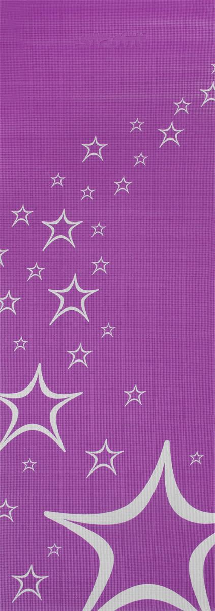 Коврик для йоги Starfit FM-102, цвет: фиолетовый, 173 х 61 х 0,4 смУТ-00008844Коврик для йоги Star Fit FM-102 - это незаменимый аксессуар для любого спортсмена как во время тренировки, так и во время пре-стретчинга (растяжки до тренировки) и стретчинга (растяжки после тренировки). Выполнен из высококачественного ПВХ и оформлен оригинальным рисунком в виде звезд. Коврик используется в фитнесе, йоге, функциональном тренинге. Его используют спортсмены различных видов спорта в своем тренировочном процессе. Предпочтительно использовать без обуви. Если в обуви, то с мягкой подошвой, чтобы избежать разрыва поверхности коврика.