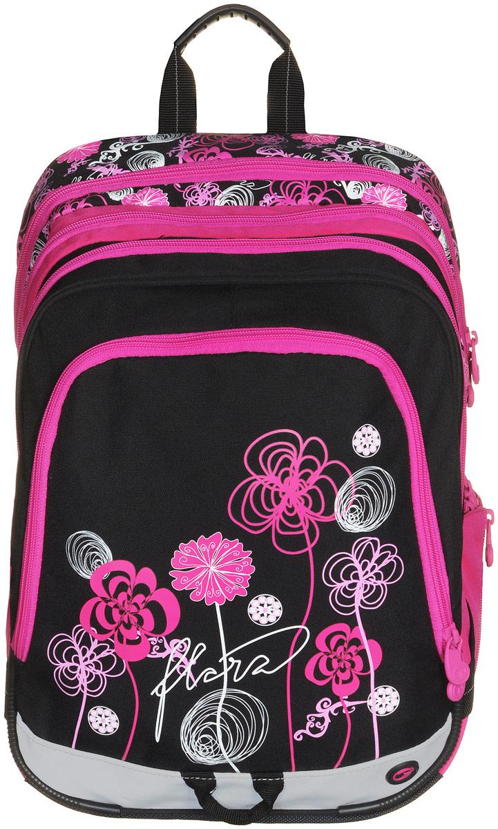 BagMaster Рюкзак детский с наполнением цвет розовый черный 1 предметBM-S1A 0114 AДетский рюкзак BagMaster обязательно понравится вашей школьнице. Рюкзак выполнен из прочных и высококачественных материалов. Содержит три вместительных отделения, закрывающихся на застежки-молнии с двумя бегунками. Бегунки застежек дополнены удобными металлическими держателями. Внутри первого отделения находятся органайзер для канцелярских принадлежностей, карман-сетка на молнии, карман на липучке под мобильный телефон и лента с карабином для ключей. Во втором отделении располагается бирка для заполнения личных данных ученика. Лицевая сторона рюкзака оснащена накладным вместительным карманом на молнии, внутри которого располагается открытый карман. Рюкзак имеет один боковой карман для бутылки с водой. Специально разработанная архитектура спинки со стабилизирующими набивными элементами повторяет естественный изгиб позвоночника. Набивные элементы обеспечивают вентиляцию спины ребенка. Задняя часть спинки дополнена легкой алюминиевой рамкой, повторяющей контур позвоночника и...